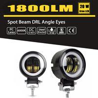 2PC 3 Inch 1800LM LED Spot Light Round Angel Eye 4X4 ATV Car Boat Truck Pickup