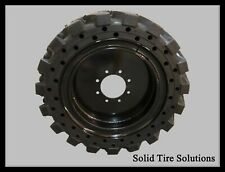 12x16.5 / 33x12x20 Flat Free Solid Skid Steer Tires Set of 4 with Rims