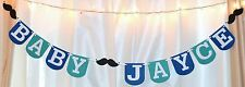 its a boy customized mustache teal blue little man baby shower hanging  banner