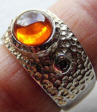 massiver Mexico-Feueropal-Rauchdiamant-Ring, Unikat, 925er Silber, Gr. 55,5