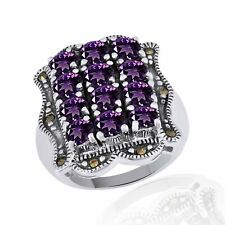 Amethyst Cluster Band Engagement Ring 14k White Gold Over Sterling Silver
