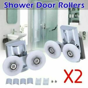 4PCS Shower Door Wheels Heavy Duty Zinc Alloy Twin Top Bottom Rollers Runners