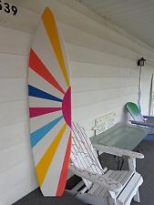 6 Foot Wood Hawaiian Surfboard Wall Art Decor or Headboard kids room sunburst