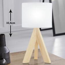 Tischleuchte Wohnraum Flur Tischlampe Stativ Holz grau Schirm Textil grau