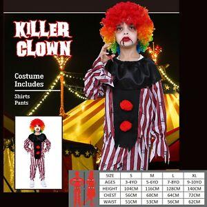 Boys Halloween Crazy Clown Costume Kids Pennywise Fancy Dress Horror Evil Killer