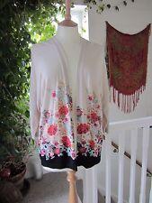Monsoon Flower Pattern Cotton/Mix Wrap Cardigan - Size S Good Gentle Worn Cond.