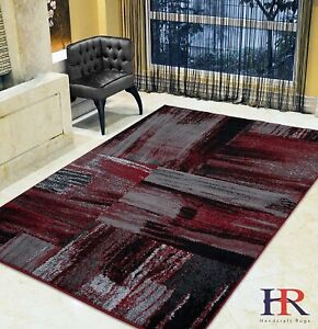Red/Grey/ Silver/Black Area Rug Abstract Contemporary Modern 8x10 Rugs Carpet