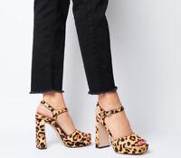 c3708399e4 Womens Office Husky Square Toe Platform Heels Leopard Pony Leather Heels