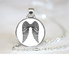 Angel Wings Black Ink PENDANT NECKLACE Chain Glass Tibet Silver Jewellery