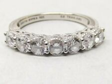 Judith Ripka Sterling Silver Ring Sz 10 Cz Cubic Zirconia 7 Stone Row Set Signed