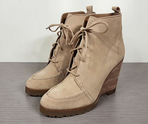 Michael Kors Piper Lace-Up Wedge, Dark Khaki Suede Womens Various Sizes