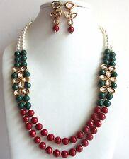 Indian Bollywood Traditional Long Green Maroon Pearls Kundan Fashion Jewelry Set