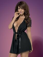 Obsessive Miamor Black Beautifully Finished Robe With Lacy Sleeves - Made in EU L/xl