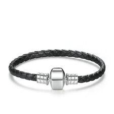 Cuero negro y plata pulsera con dijes Pulsera Para Encantos 19 cm -