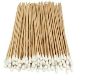 "500 Cotton Swab Applicator Q-tip Stem Stick 6"" Extra Long Wood Handle Swabs"