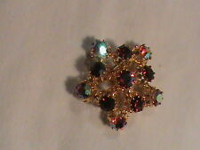 Red Aurora Borealis Star Brooch signed made in Austria STAR