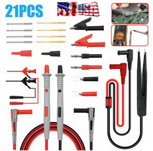 21Pcs/Set Digital Multimeter Probe Test Lead Kit Cable Alligator Clip Needle Tip