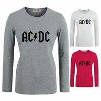 AC DC Rock Band ACDC Pattern O-Neck T-Shirt Women's Long Sleeve Graphic Tees Top