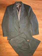 Vtg Mens 42 R Gray Western Cowboy 2 Piece Suit Jacket Pants Set