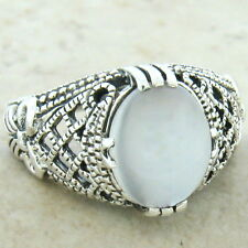 Genuine Moonstone 925 Sterling Silver Antique Filigree Style Ring Size 10, #926