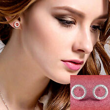 Fashion Lovely Jewelry Silver Plated Round EarStuds Earrings Gift For Women Girl