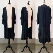 Cleobella black beaded embroidered oversized duster open front robe Size XS