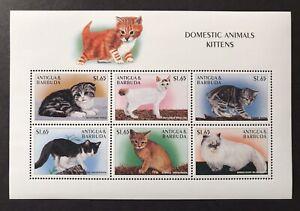 ANTIGUA CATS STAMP SHEET 6V 1997 MNH DOMESTIC ANIMALS KITTENS MANX BOBTAIL PETS