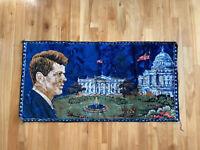 Vintage 60's John F Kennedy White House Rug Tapestry Wall Art President JFK