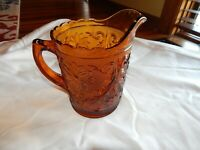 Tiara Amber Sandwich Glass Pitcher Indiana Gold Daisy Flower 1.5 Quart Vintage