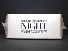 EMPORIO ARMANI NIGHT FOR HIM Eau De Toilette Spray For Men 1.7 Oz / 50 ml RARE !