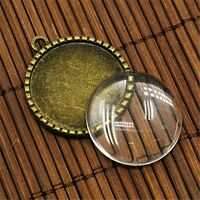 10 sets Clear Glass Dome Gem Cabochons Cameo Base Charms Pendants Jewelry