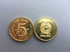 Pièce monnaie SRI LANKA CEYLON CEYLAN 5 RUPEES 2013 jaune UNC NEW NEUVE
