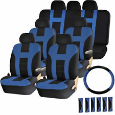 Blue & Black 3 Row Seat Covers Air Bag Safe & Split Bench Ready for VANS