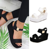 Women Middle Heel Platform Sandals Wedges  Ladies Open Toe Chunky Summer Shoes