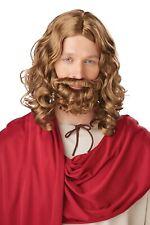 Jesus Wig & Beard Brown Long Fancy Dress Up Halloween Adult Costume Accessory