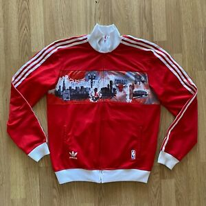 NBA Chicago Bulls Adidas Originals Track Top Jacket Size S Red Rare V30433