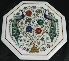 12 Inches Marble End Table Top with Peacock Design Multi Gemstones Center table