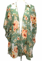 Emory Park Women's green kimono sheer floral cardigan Size M.
