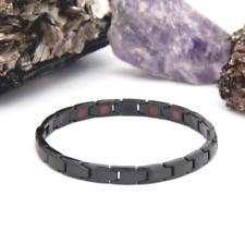 Authentic Pur life Negative Ion Bracelet ELEGANT BRUSHED STAINLESS BLACK PURLIFE