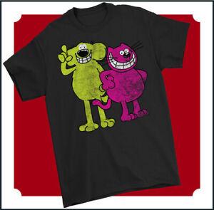 ROOBARB and CUSTARD T-SHIRT, Mens Retro Cartoon Distressed Top 70s 80s TV Show