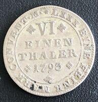1793 GERMANY SILVER 1/6 THALER BRUNSWICK - WOLFENBUTTEL KM#1001, RARE