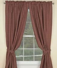 Primitive Country Wine Sturbridge Panel Curtains 72WX84L Lined Plaid Cotton
