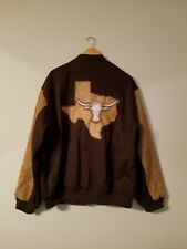 Mens The Lone Star State Texas Longhorn 3D Logo Varsity Suede Jacket XL