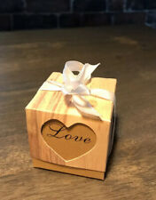 20pc Rustic Favour/ Gift Boxes Love Heart Wedding/Baby Shower 5x5cms