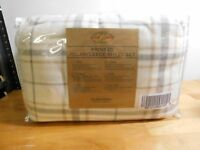 Malden Mills Polarfleece Sheet Set-Cream Plaid-Queen-NIP-H212329