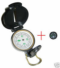 Lensatic compass and button compass liquid filled scout