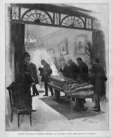 VIEWING BODY OF GENERAL SHERMAN AT HIS HOME IN 1891 NEW YORK FLAG DRAPED CASKET