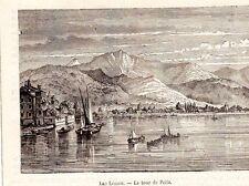 TOUR DE PEILZ LAC LEMAN BATEAU BOAT IMAGE 1880 PRINT