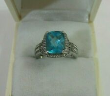 .925 Sterling Silver Blue Topaz Ring 4.00cts Size 7.25  4.2g