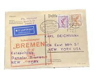 1929: German Post Cover (with Stamps) : 1st Katapulftug Flight to NYC #6725